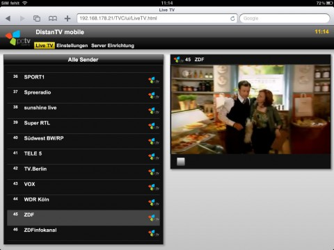 PCTV Broadway - Live-TV im iPad-Browser