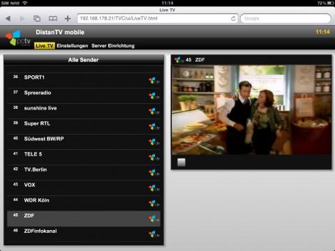 PCTV Broadway - Live-TV im iPad-Browser