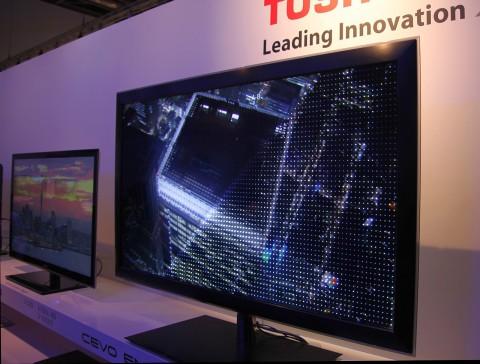 Toshiba 55ZL1 - Demonstrationsgerät zeigt die dimmbaren LED-Cluster in Aktion. (Bild: ck)