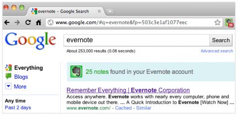 Evernote-Chrome-Erweiterung mit Google-Einbindung