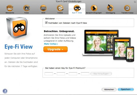 Eye-Fi Center: Eye-View-Aktivierung