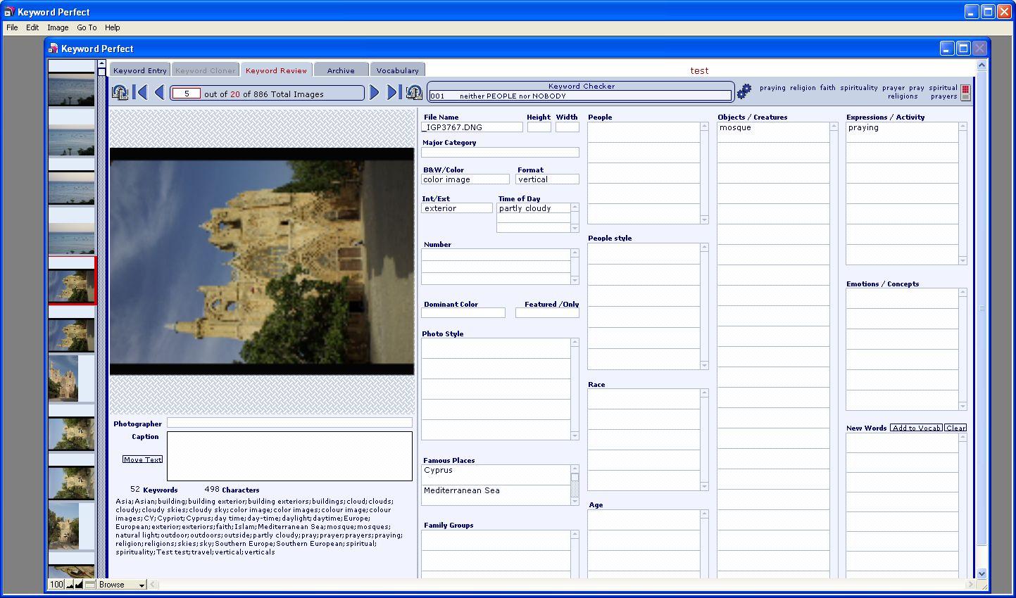 Fotoverwaltung: Schlagwortvergabe mit Synonymwörterbuch-Hilfe -