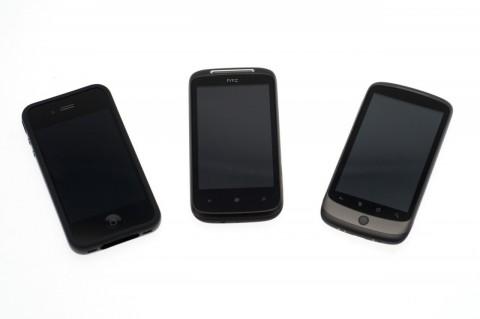 Größenvergleich: Apple iPhone 4, HTC 7 Mozart, Google Nexus One