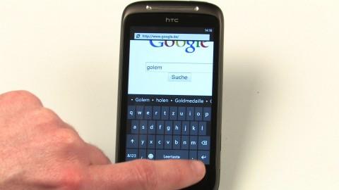 Bildschirmtastatur von Windows Phone 7 im Hochformat