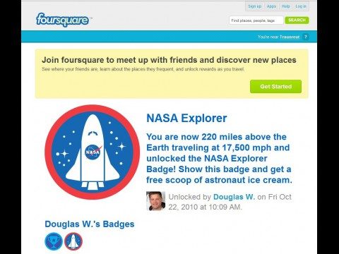 Nasa Explorer Badge bei Foursquare