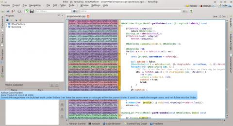 Git-Quellen in KDevelop 4.1 (Bild: Aleix Pol)