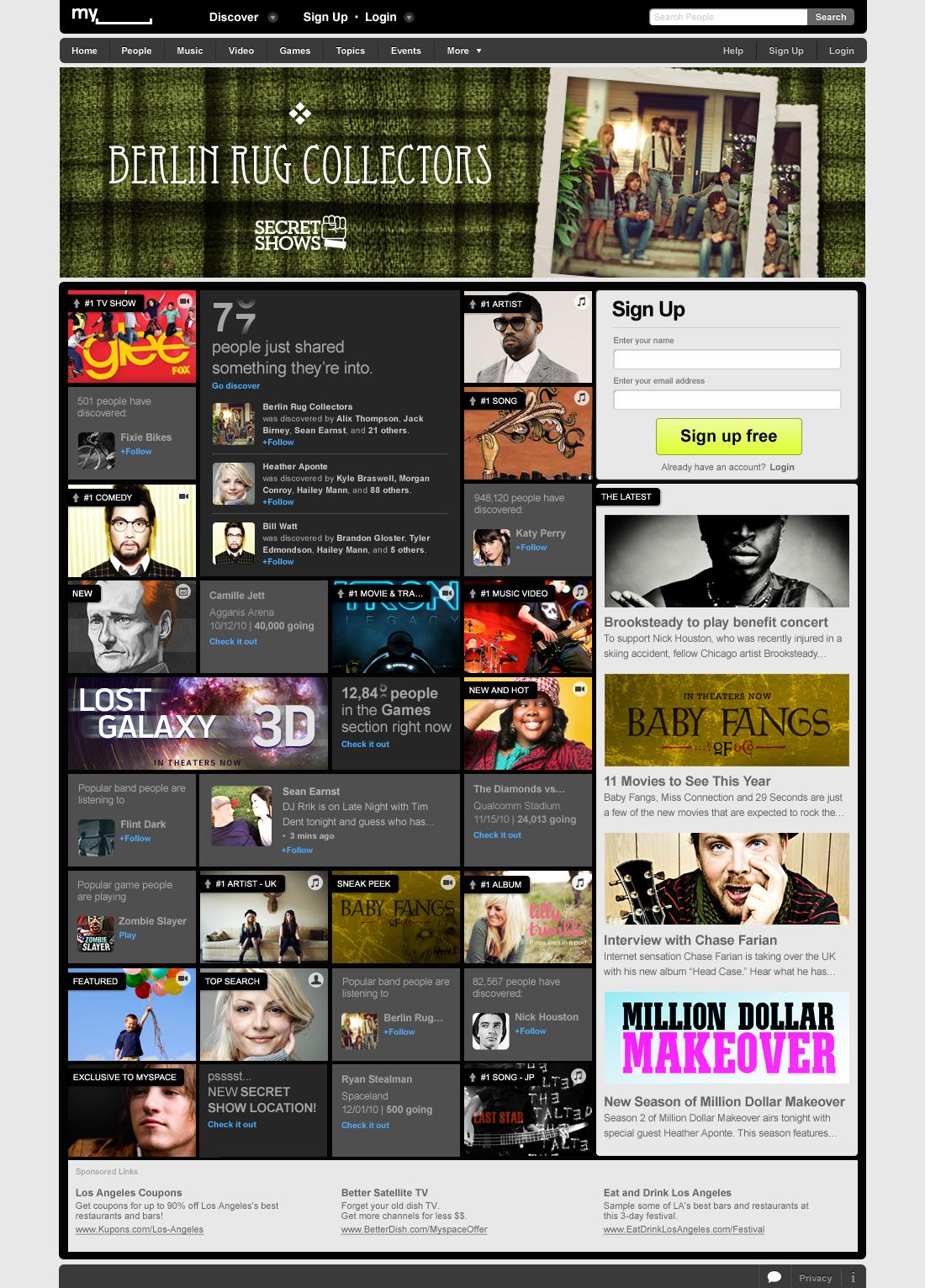 Social Entertainment: Myspace erfindet sich neu - Neue Myspace-Homepage (Screenshot: Myspace)