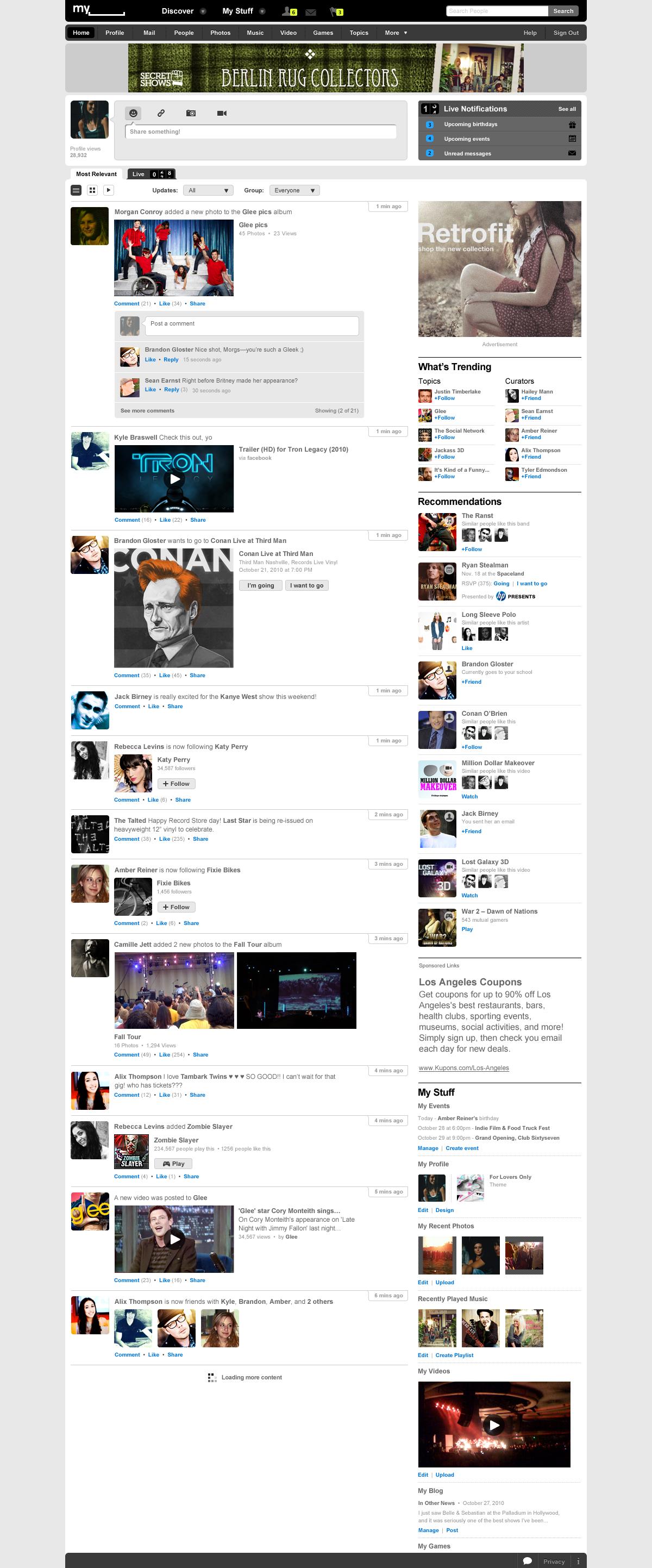Social Entertainment: Myspace erfindet sich neu - Neues Myspace - Listenansicht (Screenshot: Myspace)