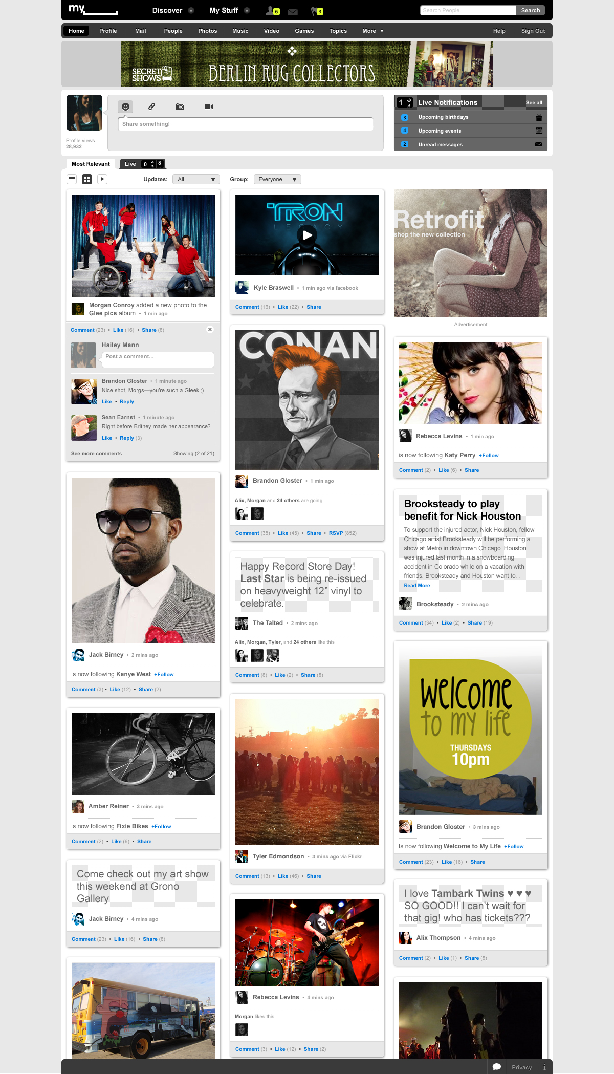 Social Entertainment: Myspace erfindet sich neu - Neues Myspace - Rasteransicht (Screenshot: Myspace)