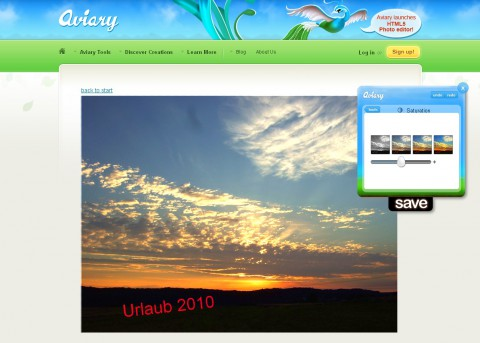 Aviary-HTML5-Editor - Sättigungseinstellung