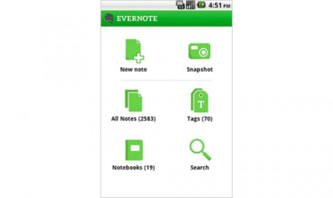 Evernote 2.0 für Android - Startbildschirm