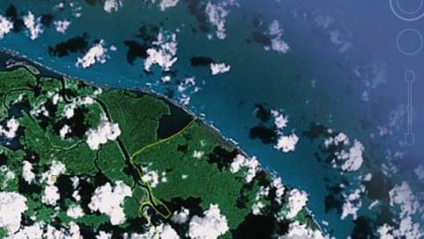 Die Luftaufnahme von Google Earth zeigt Nicaragua (links), Costa Rica (rechts) und die umstrittene Grenze (gelbe Linie) so, wie sie Nicaragua als korrekt und Costa Rica als falsch ansieht.