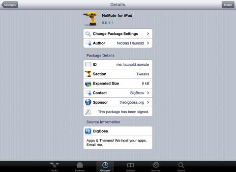 """NoMute for iPad"" Cydia - Bigboss Repository"