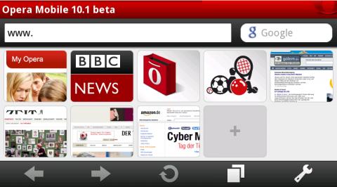 Opera Mobile 10.1 für Android mit angepasster Schnellwahlseite im Querformat
