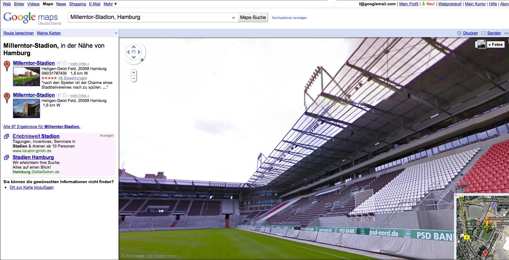 Straßenfotos: Google Street View in Deutschland gestartet - Google Street View: Millerntor-Stadion in Hamburg