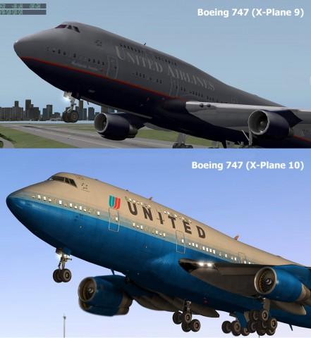 X-Plane 9 (oben) versus X-Plane 10: Die Modelle sind deutlich aufwendiger geworden.