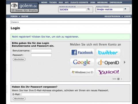 Login per Twitter, Facebook, Google, OpenID & Co. bei Golem.de