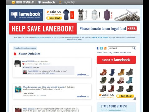 Facebook-Parodie Lamebook - beim großen Vorbild in Ungnade gefallen