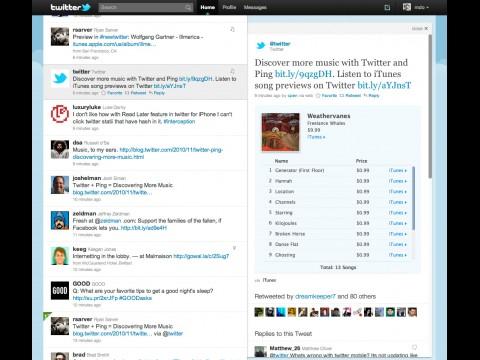 iTunes Ping integriert in Twitter.com