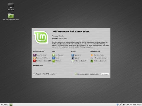 Über den Willkommensbildschirm können weitere Informationen zu Linux Mint abgerufen werden.