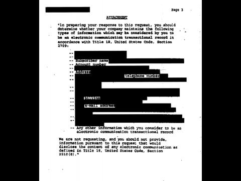 Die Liste der Informationen, die das FBI von Merrill zu einem seiner Kunden verlangte.