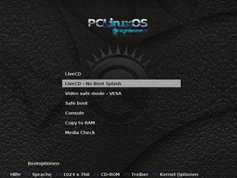 Das Bootmenü der Live-CD