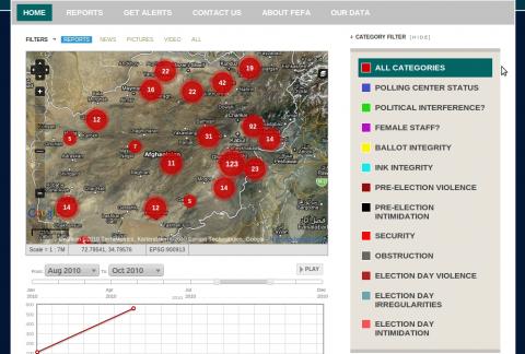Ushahidi-Karte zur Parlamentswahl in Afghanistan 2010
