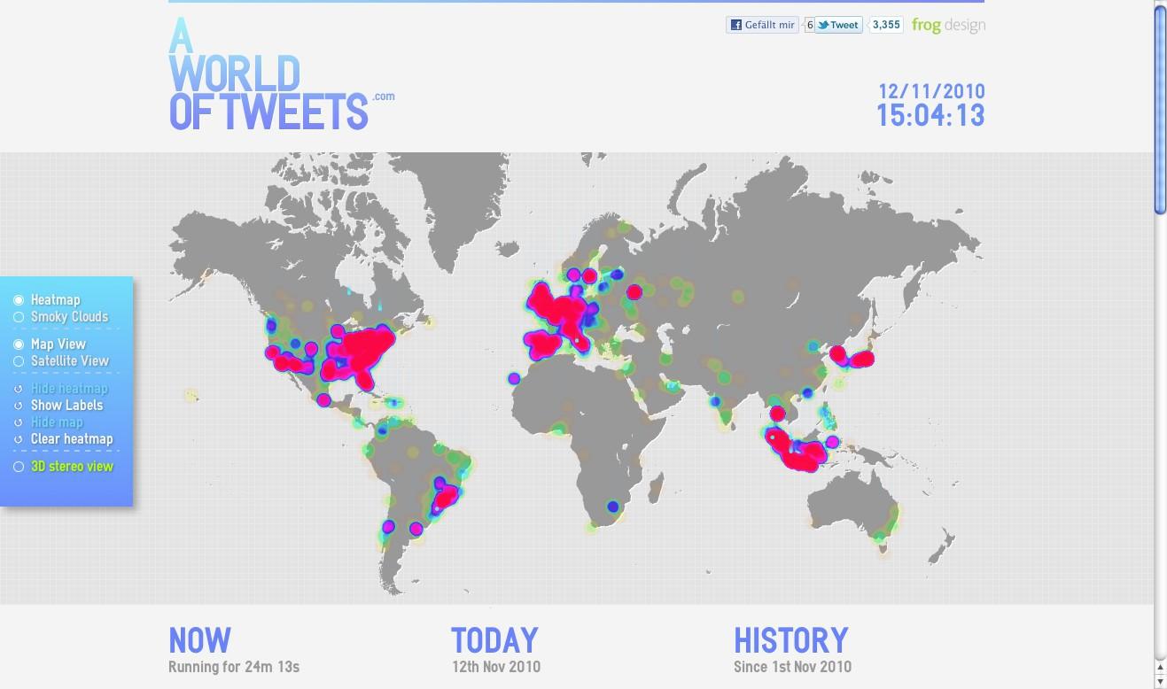 World of Tweets: Wo wie viel auf der Welt getwittert wird - World of Tweets