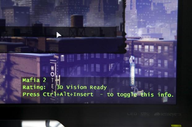 So begrüßt 3D Vision den Mafia-2-Spieler mit der korrekten Auflösung.