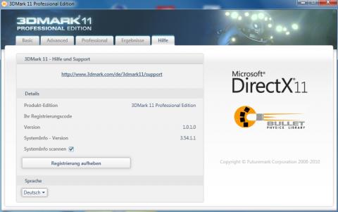 Intern meldet sich der Benchmark als Version 1.0.1.0.