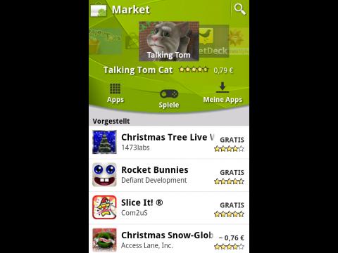 Neuer Android Market - Startbildschirm