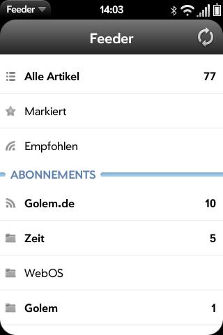 Feeder für WebOS: Flinker Google-Reader-Client mit Komfortbedienung - Feeder - Hauptbildschirm