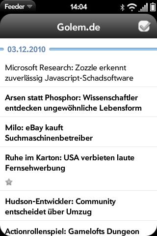 Feeder für WebOS: Flinker Google-Reader-Client mit Komfortbedienung -