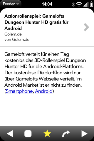 Feeder für WebOS: Flinker Google-Reader-Client mit Komfortbedienung - Feeder - Artikelansicht