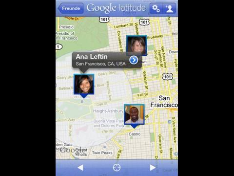 Google Latitude auf dem iPhone  - Kartenansicht