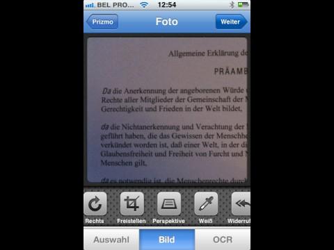 Prizmo für iOS - fotografierter Text mit Bildbearbeitungsfunktionen
