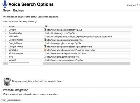 Optionen von Voice Search