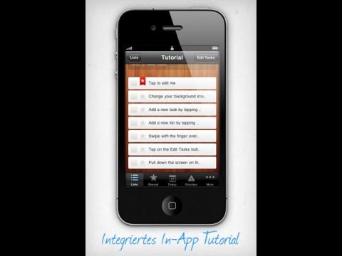Wunderlist auf dem iPhone - eingebautes Tutorial