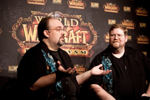 Scott Mercer, Lead Encounter Designer für World of Warcraft, und Patrick Magruder, Lead Software Engineer Game Systems, beim Interview in Berlin (Foto: Maximilian Knop)