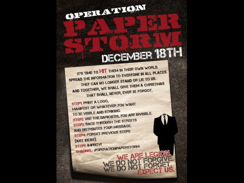 Operation Paperstorm - Aufruf zum Flugblatt-Lauf am 18. Dezember 2010