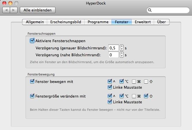 Fenstervorschau: Hyperdock bringt Aeropeek auf Mac OS X - Hyperdock-Optionen