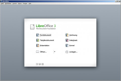 Libreoffice 3.3 - Startbildschirm