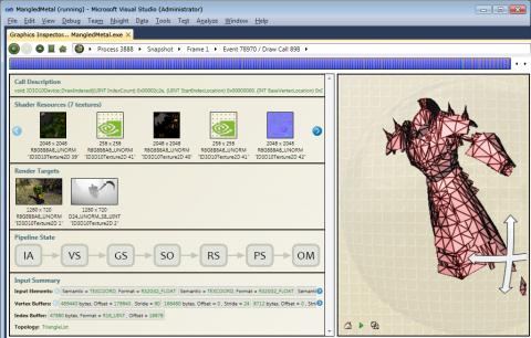 Der Graphics Inspector kann Frames zur Laufzeit abfangen.