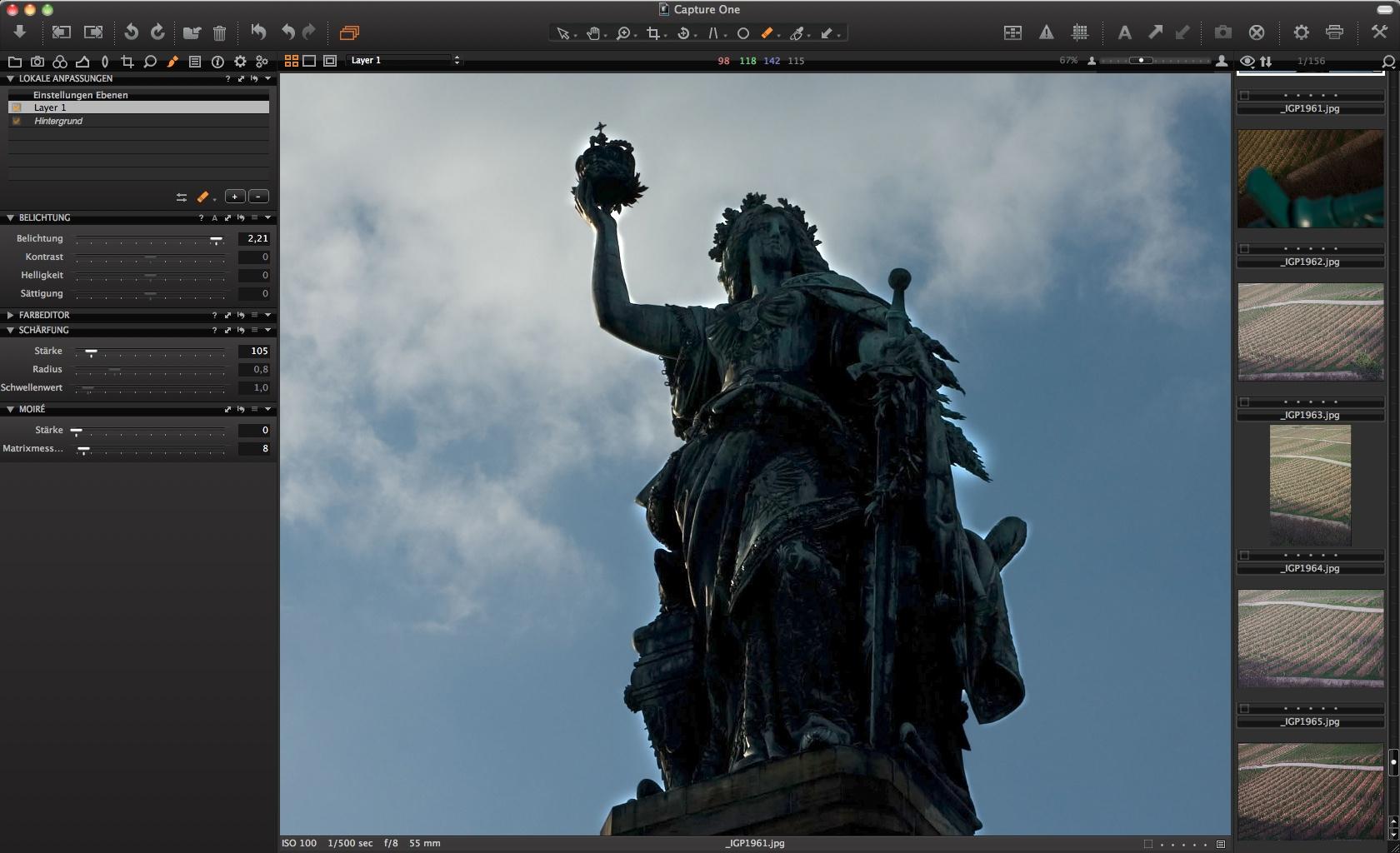 Capture One: Rohdatenentwickler unterstützt Grafiktablets - Phase One Capture One - lokale Korrektur (nachher)