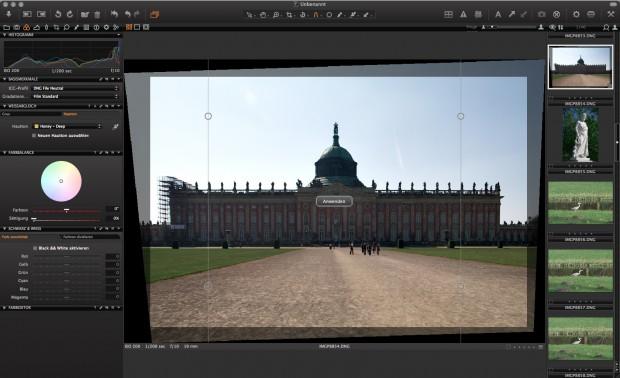 Phase One Capture One - Perspektivkorrektur (Foto: Andreas Donath)