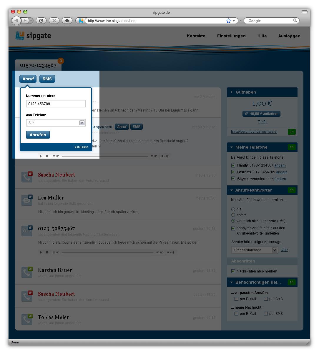 Sipgate One: Kostenlose Rufnummer für Handys, Festnetz und Skype - Sipgate One: Click to Dial