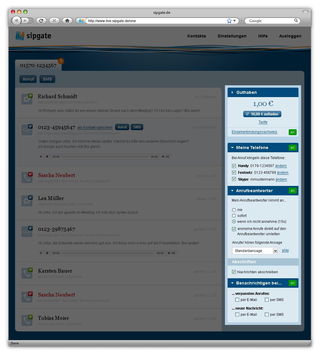 Sipgate One: Kostenlose Rufnummer für Handys, Festnetz und Skype - Sipgate One: Einstellungen