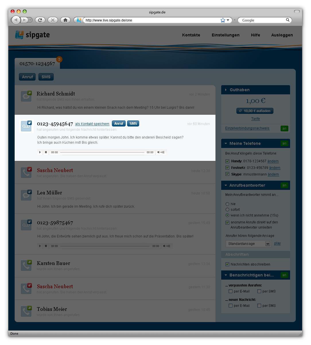 Sipgate One: Kostenlose Rufnummer für Handys, Festnetz und Skype - Voicemail in Sipgate One