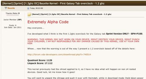 Bauxites Ankündigung des Overclocking-Kernels für das Galaxy Tab (Quelle: XDA-Developers.com)