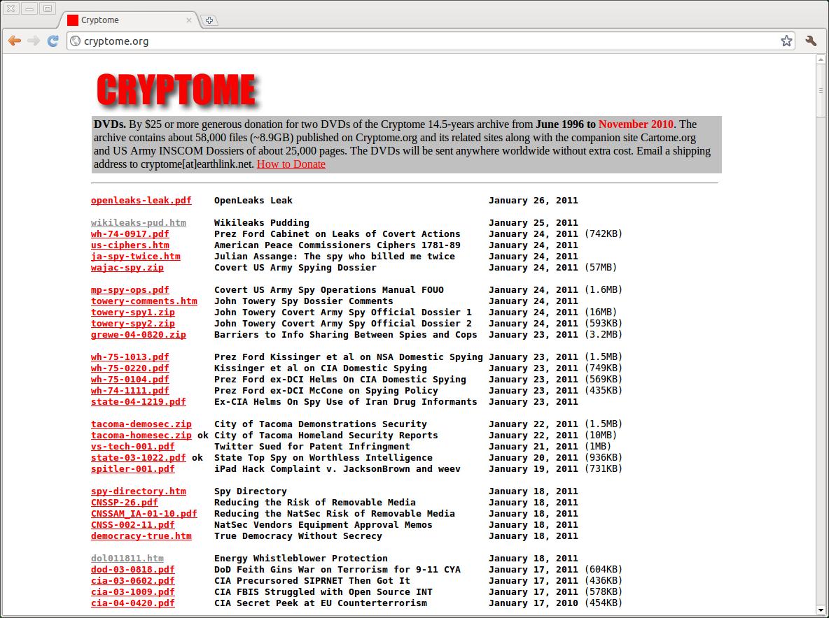 Openleaks: Whistleblower-Webseite leakt Whistleblower-Webseite - Openleaks bei Cryptome